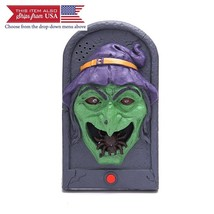 Halloween Doorbell Talking Scary Sounds Light Up Eyeball Witch for Party... - $35.88