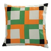 Black Temptation [Orange Orchard] Handmade Canvas Decorative Pillow Unique Grid  - $38.50