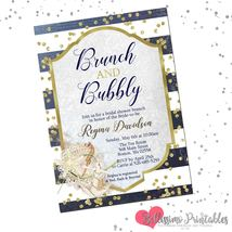 Nautical navy gold Bridal Shower Brunch and Bubbly Invitation personalized - $0.99