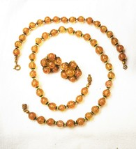 Vintage/atq golden Murano aventurine glass bead demi: necklace/bracelet/... - $49.49