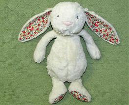 "12"" Jellycat Blossom Bashful Bunny Creamy Ivory Stuffed Animal Floral Ears Feet - $21.29"