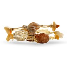 Inspired Silver Nude Natural Stone Triple Wrapped Wire Bangle Bracelet S... - $652,74 MXN