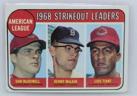 1968 Topps American League Strikeout Leaders: 1969 #11 ; Tiant, McLain, ... - $14.85