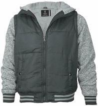 Vertical Sport Men's Sherpa Fleece Lined Two Tone Zip Up Hoodie Jacket image 10