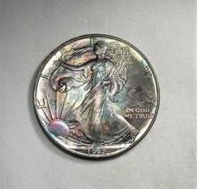 1992 American Silver Eagle Dollar 1oz 999 Fine Silver w/ Rainbow Color OG AI734 - $62.82