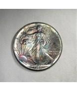 1992 American Silver Eagle Dollar 1oz 999 Fine Silver w/ Rainbow Color O... - $62.82