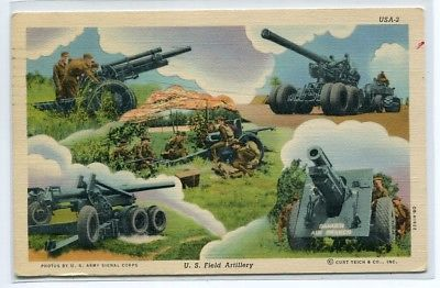 Primary image for US Field Artillery Guns Multi View Military linen 1942 postcard
