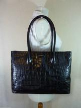 NWT FURLA Onyx Black Distressed Croc Emb Leather Martha Tote $348 - $295.02