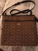 NWT Coach 58285 Outline Signature File Bag Crossbody Handbag Canvas Khak... - $89.00
