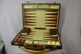 "Backgammon in Faux Leather Travel Attache with Dice Cups 15""x22"" When Open - $30.76"