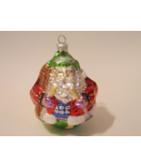Skiing Santa Vintage Glass Blown Handpainted Christmas Ornament Poland   - $25.00