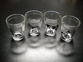 Hazel Atlas Shot Glasses Four Dog Lot Pointer Boxer Collie and Cocker Spaniel - $19.99