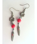 Red and Silver Beaded Feather Earrings, Southwestern Style, Handmade, Ti... - $10.00