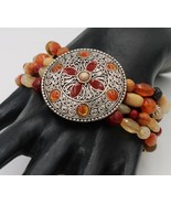 Enameled Medallion Silver Tone Mosaic Coral Brown Colored Stretch Cuff B... - $9.89