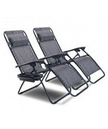 2 PCS Zero Gravity Chairs Folding Lounge Patio Beach Chairs With Cup Hol... - £177.35 GBP