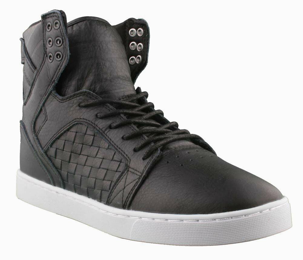 Supra Skytop LX Noir Tissé Cuir Blanc Semelle Hi Haut Skate Chaussures