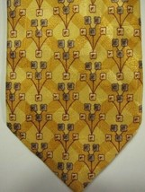 GORGEOUS Ermenegildo Zegna Gold With Stylized Flowers Silk Tie Italy - $37.26