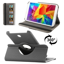 For Galaxy Tab 4 8.0 Grey Denim Leather Case with Card Slots & 360° Holder  - $13.69