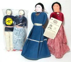 Native American Handmade Cloth Doll Set of 4 Navajo Folk Art Fred Harvey... - $16.78