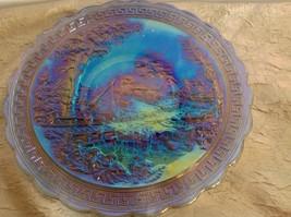 VTG Rare IMPERIAL Homestead Carnival Art Glass Chop Plate Marked IG Amet... - $64.35