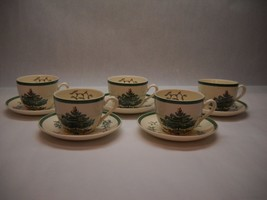 SPODE Christmas Tree PATTERN TEACUPS SAUCERS Set of 5 Made in England VI... - $95.03