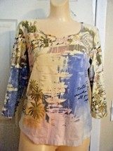CHICO'S BEIGE PRINT 3/4 SLEEVE STRETCH TOP SIZE CHICO'S 1 - $18.37