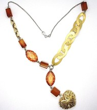 Necklace Silver 925, Agate Orange, Ovals Satin, Heart Convex Perforated image 2