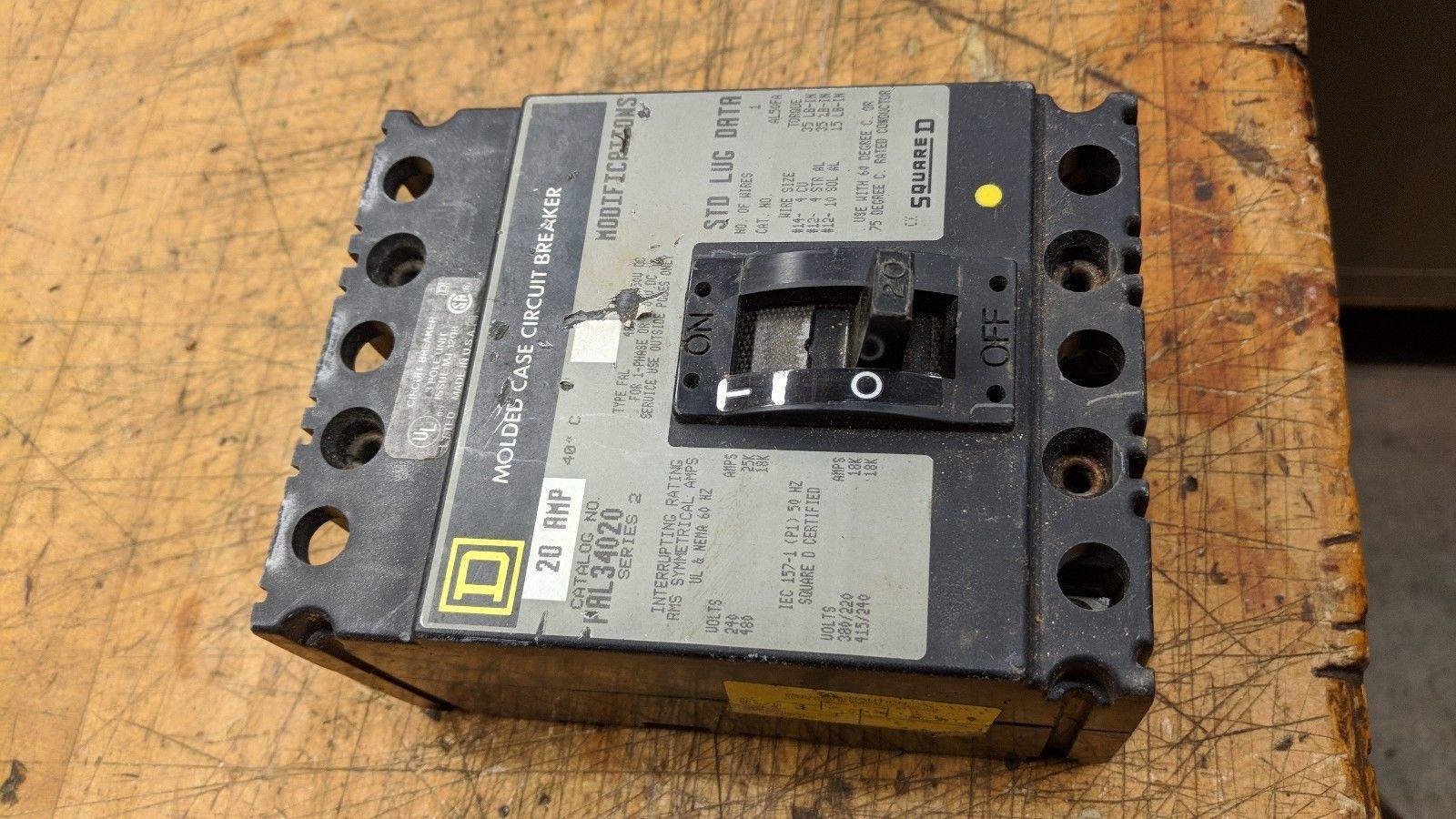 FAL34020 Square D SQD Type FAL Circuit Breaker 3 Pole 20 Amp 480V 240v