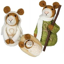 Primitives By Kathy Felt Nativity Mice Mouse 3 pc Figures