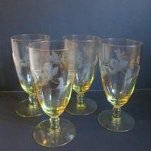 4 Lancaster YELLOW Topaz Optic Juice Ice Tea Tall Serbet GLASSES Cut Flo... - $49.45