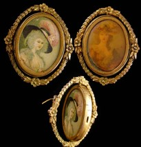 Antique Portrait FLIP brooch - 2 sided 18th century Marie Antoinette - M... - $265.00
