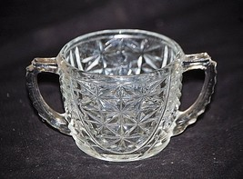 Stars & Bars by Anchor Hocking Open Sugar Bowl Clear Depression Glass Star Arch - $12.86