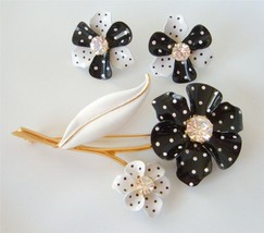 Vintage Enamel Flower Pin Brooch Earrings Set Black and White Polka Dots... - $39.59