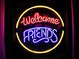 "Brand New Welcome Friends Beer Bar Restaurant Neon Sign 16""x 16"" [High Quality] - $129.00"