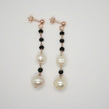 DROP EARRINGS 925 SILVER LAMINATED GOLD PINK WITH PEARLS AND ONYX BLACK image 1