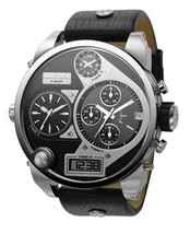Diesel DZ7125 Mr Daddy Oversized Silver Black Dial Leather Band 56MM Men... - $183.00 CAD
