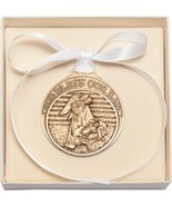 Crib Medal - Gold Oxide Finish Baby in Manger with White Ribbon - $39.99