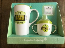 Hallmark Dad Mug and Baby Sippy Cup Set Brew Time Moo Set New In Box - $10.00