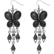 Black Beaded Butterfly Earrings - $8.99
