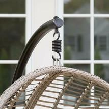 Hanging Chair Set Grey Wicker Egg Wicker w/Cushion Patio Lounge Chair Boho Chic image 2
