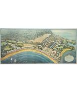 "c1922 Map Playland Rye Beach Westchester County New York Bird View 7""x16... - $12.38"