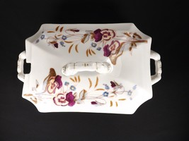 ANTIQUE VICTORIAN CARLSBAD FINE AUSTRIAN CHINA SOUP TUREEN ORCHIDS FLORA... - $119.20