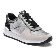 Michael Kors MK Women's Allie Trainer Sparkle Metallic Sneakers Shoes Silver