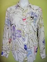 OLD NAVY COLORFUL FLORAL LIGHT 100% COTTON LONG-SLEEVE SHIRT SIZE M EUC - $8.60
