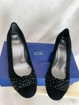 Stuart Weitzman Womens Size 6M Black Suede Dotsun Slip on Wedge Shoes Gold Dots - $18.93