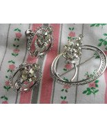 Vintage Sterling Silver & Crystal Brooch Pin & Matching Screw Back Earri... - $28.95