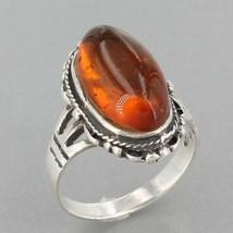 Vintage Marsala Southwest Design Sterling Silver Amber Cabochon Ring Size 8.5 - $19.99