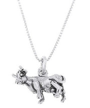 Sterling Silver Livestock Cow Charm With Box Chain Necklace - $19.87+
