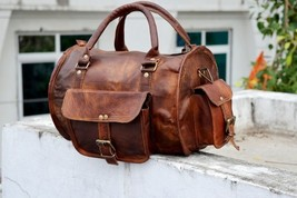 New Genuine Luggage Soft Leather Duffel Men Travel Gym Overnight Weekend... - $79.13