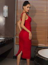 Sexy Red Mesh Bandage Spaghetti Strap Midi Bandage Bodycon Dress image 3